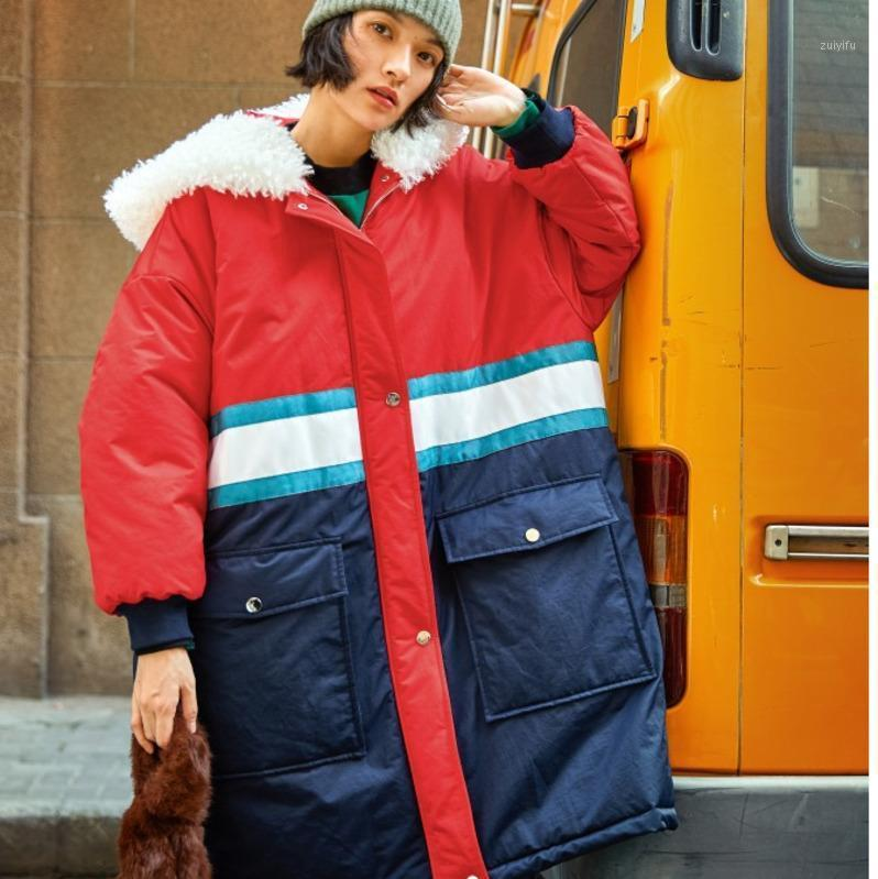 Patchwork Casual Vintage Verte Plus Taille Longue Veste Longue Vêtements Vêtements Plus épais en coton chaud de coton rembourré Parka 2019 Winter Coat femelle F6141