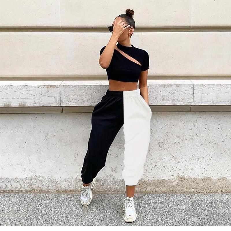Женские брюки CAPRIS женщины повседневная тонкая тонкий хит цвет черный белый высокий талию свободный досуг летний брусесер1