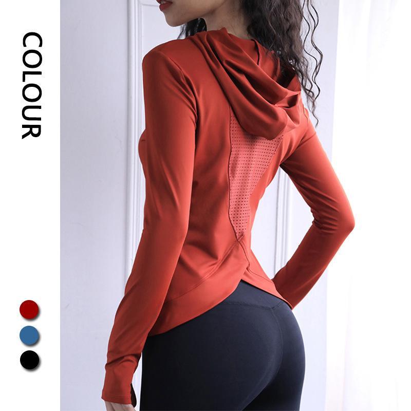 Kadınların spor yoga çabuk kuruyan Sonbahar ve Kış yeni şeftali kalp kapşonlu spor spor uzun kollu üst yoga kıyafetleri gömlek başparmak toka başında