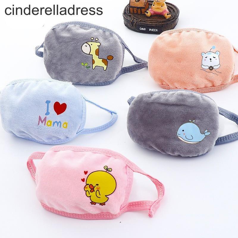 Kind-Karikatur-Bären-Gesichtsmaske mit Plüsch-Ohr-Schutz dick und warm Kinder Mundmasken Winter-Mouth-Muffel für Parteibevorzugungen FY9232