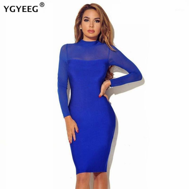 ygyeeg 새로운 패션 여성 Bodycon Dess 우아한 메쉬 깎아 지른 긴 소매 슬림 스트레치 숙녀 드레스 파티 클럽 Vestidos Streetwear1