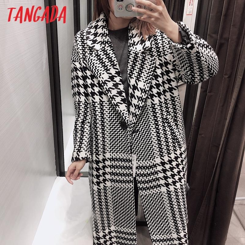 Tangada Women Thick Coats Jacket Plaid Pattern Loose Long sleeves pocket Ladies Elegant Autumn Winter coat QB07 201016