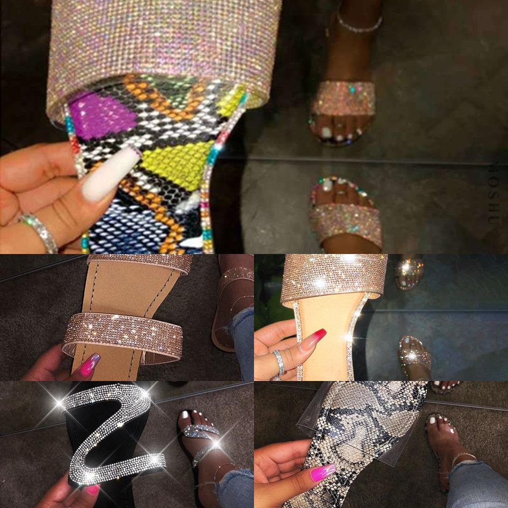 الصيف حذاء امرأة الصنادل للنساء 2020 بلينغ شقة حجر الراين السيدات شاطئ ساندليس مصمم الفاخرة sandalias موهير ساندسل J1208