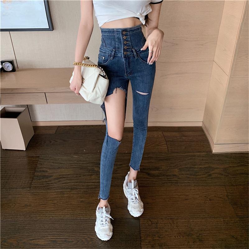 Женские джинсы Real S 2021 Корейская версия моды личности разорвал высокую талию скинни стрейч женщин
