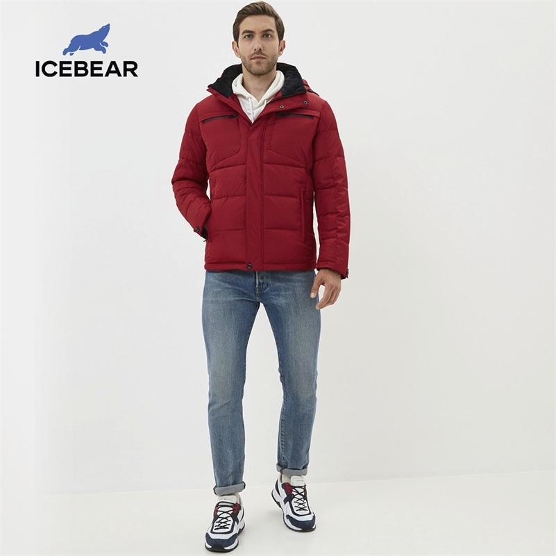 Icebear 2020 зима Новый повседневный и модный мужской хлопчатобумажный куртка теплый и ветрозащитный мужской пальто бренда бренда LJ201030