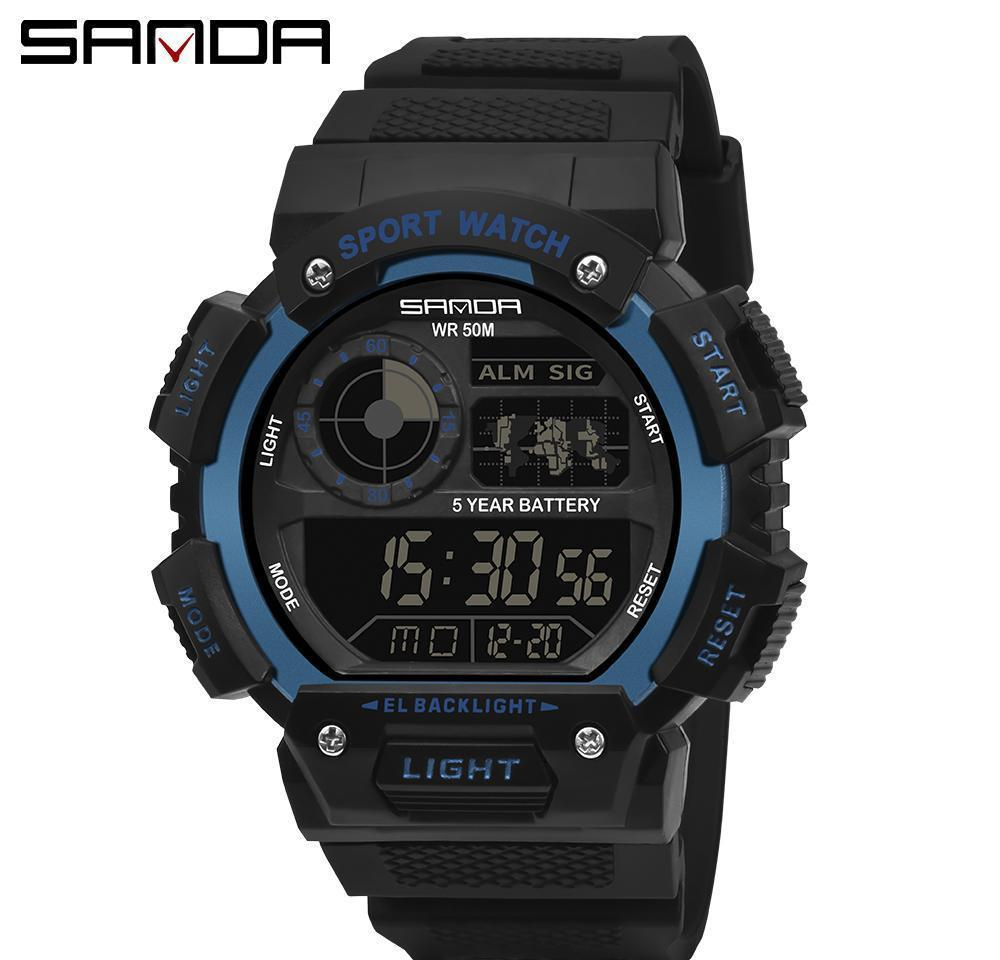 Sanda Black Sports Impermeable LED Reloj Digital Relojes Deporte Relojes Masculino electrónico Reloj de pulsera para hombres Reloj Relogio Masculino WMTZUI
