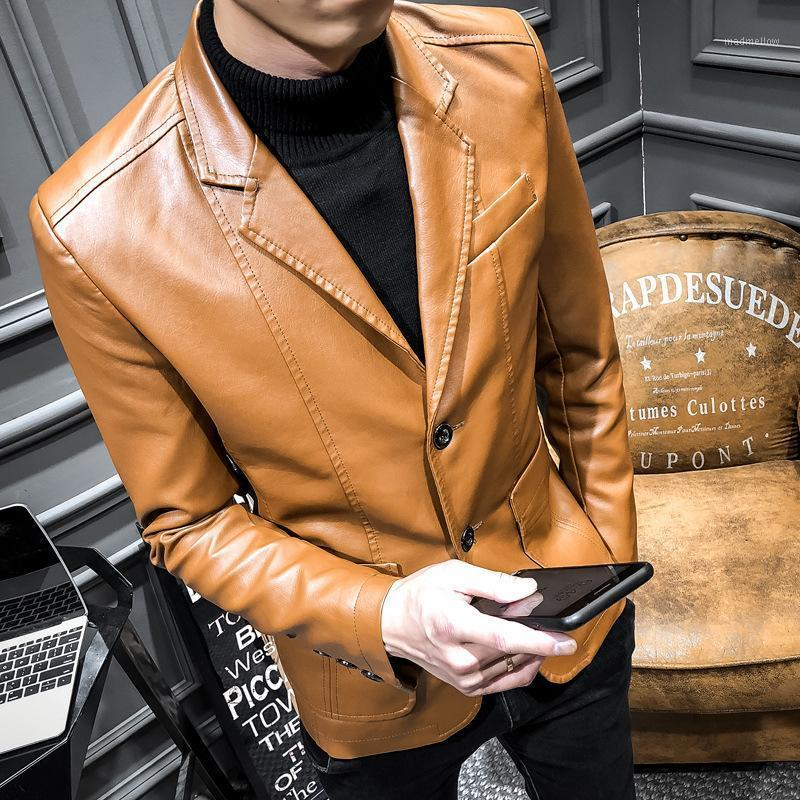 Весна и осень Новый мужской костюм PU кожаная куртка мужская повседневная пальто корейской версии стройного самоуправления Overcoat Seatchgrment1