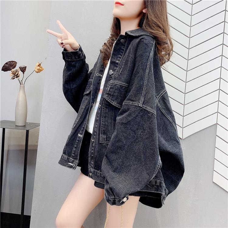 Automne Black Denim Veste Big Taille de la femme et de style en vrac 201013