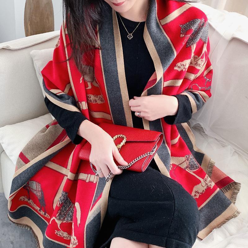 Women Cashmere Scarf Warm Winter Foulard Shawls Wraps for Ladies Luxury Chain Print Bandana Scarves 2020 Fashion1