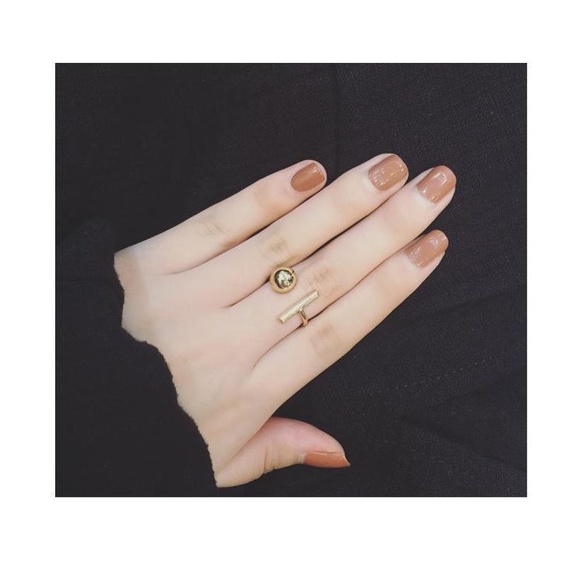Barra cuadrada de bola simple y minimalista con oro y plata Negro Personalidad Abra Ring W SQCBNP DH_SELLER2010