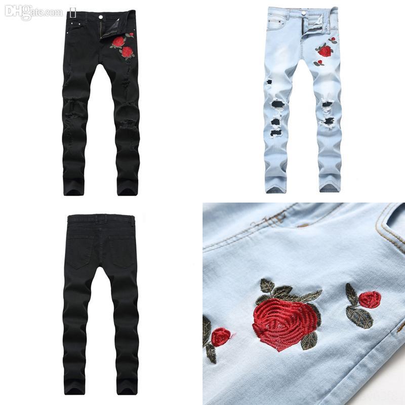 KQ2CB Herren Jeans Distressed Ripping Skinny Slim Fit Designer Hüfthosen Riss Jeans Blue Camouflage Lange Hop Hosen Bleistift Denim