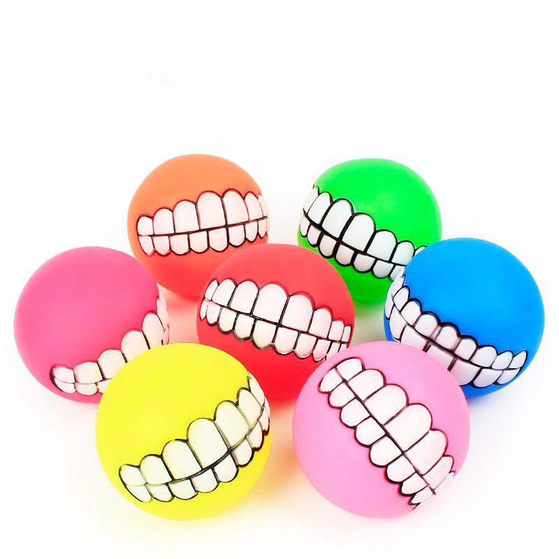 Rubber Dog Toys balle Chew son Chiens Jouer Squeak Jouets nettoyage semblables dans la dent souple Nteractive