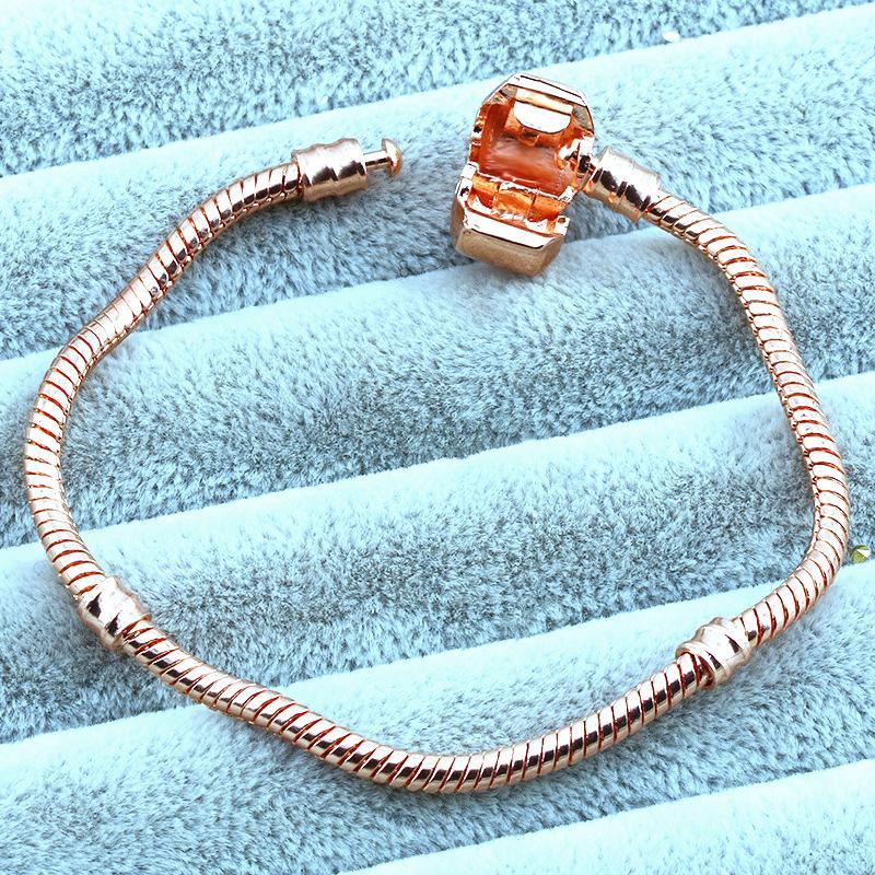 1pcs Drop Shipping or rose Bracelets femmes serpent chaîne perles charme pour pandora Bracelet enfants cadeau B019