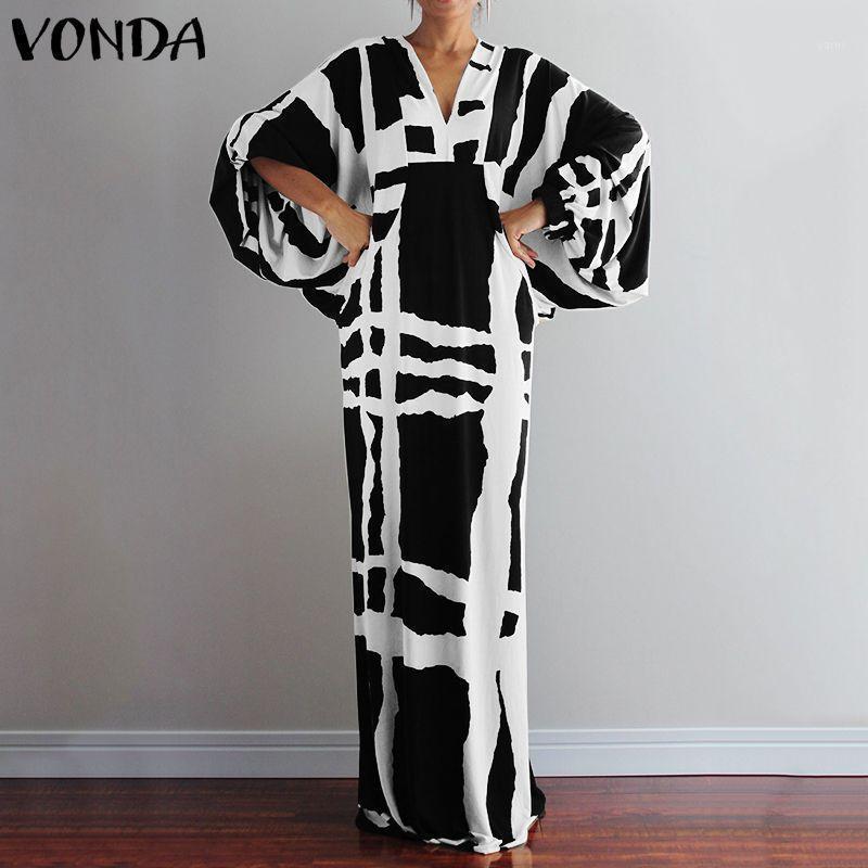 Vonda automne maxi robe 2020 Femmes Sexy V cou à manches longues à manches longues robes imprimées Loose Summer Shundress occasionnel Bohemian Vestidos 5xl1