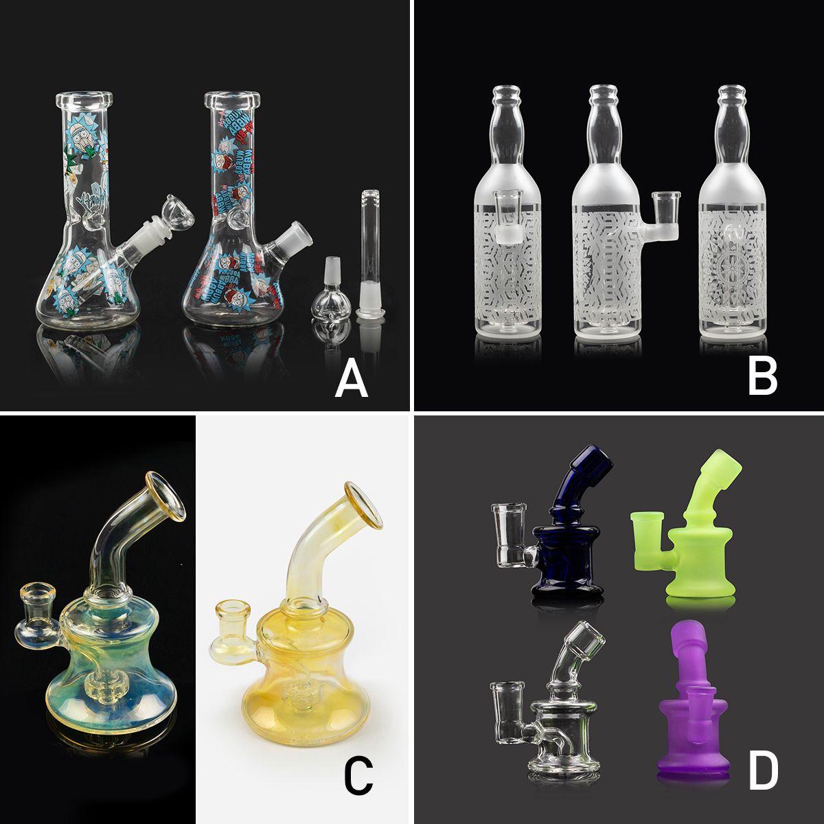 Mini Hookahs Colorido 4 Estilo Espesso Borbulhante Bubbler Vidro Bongo Rig Rig Rig Beaker Tubulação de Água Luminosas Bongs Fumar Acessórios