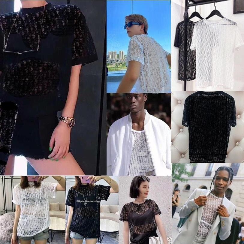 Moda Streetwear Bayan Erkek Tasarımcı Gömlek Mektup Beyaz Siyah Kırpma Tops Bluz Dantel Oymak Sheer Hip Hop Parti T Gömlek Bayanlar Seksi