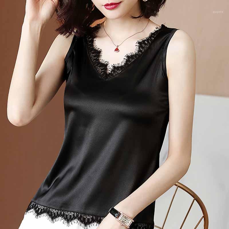 Summer Sleeveless Blouse Shirt Women Tops Blusas Mujer De Moda 2021 Blouse Women Lace V-neck Chiffon Shirts D2671