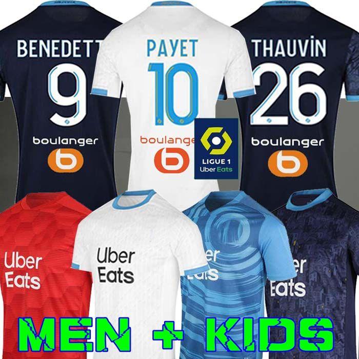 Olympique De Marseille Maillot OM Maillot Homme Enfant Kit 2021 Maillot de Foot 20 21 PAYET BENEDETTO troisième shirt KAMARA Football ÁLVARO