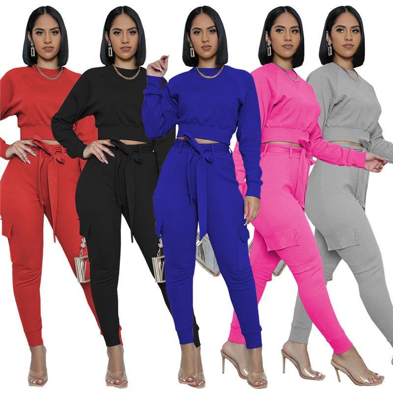 femmes de vente chauds pantalons de sport de chemise de longues manches Pantsuit 2 pièce ensemble chemise mince collants pantalon pull-over costume de sport H912