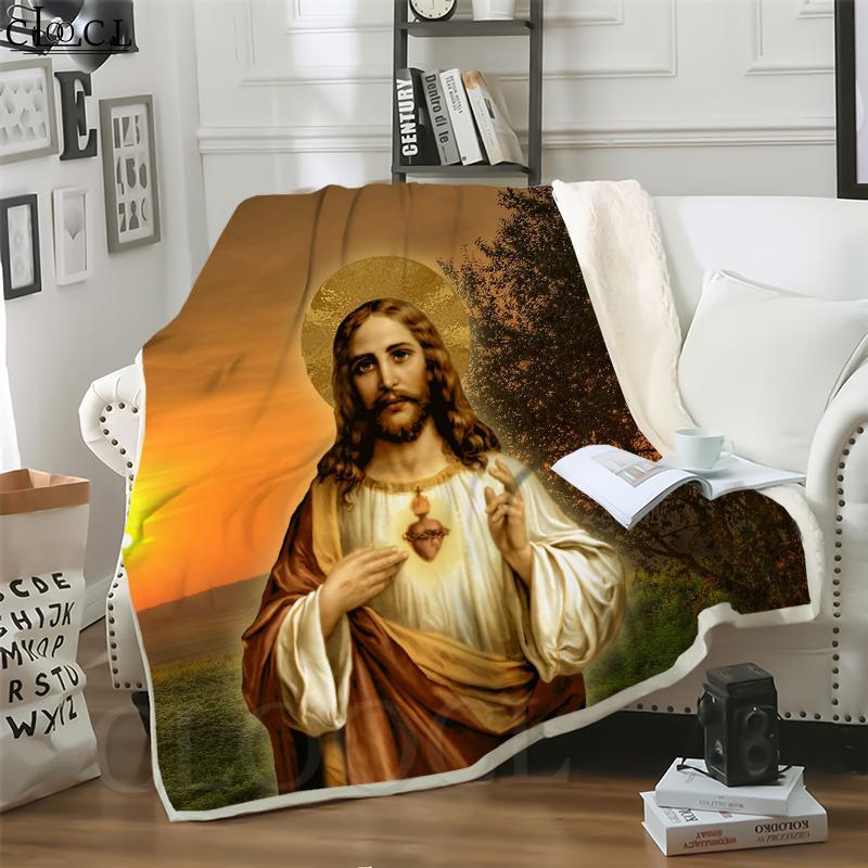 Cloocl Católico Católico Jesús 3D Imprimir Hip-Hop Style Aire Acondicionado Manta Sofá Adolescentes Ropa de cama Lanzar Mantas de peluche Edredón