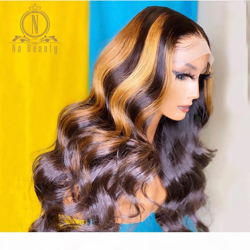 Honey Blonde Highlight perruque de cheveux humains T partie avant de dentelle perruque Preplucked dentelle fermeture vague de corps pour les femmes noires Nabeauty Remy