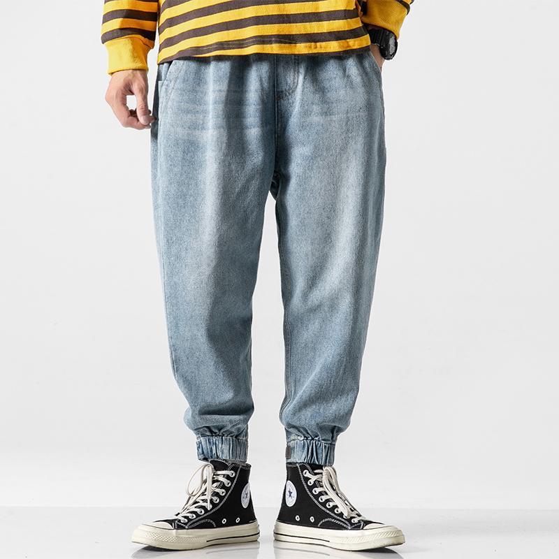 Мужчины свободные повседневные гарема Джин Джонгеры спортивные штаны Мужская старинная уличная одежда хип-хоп эластичная талия широкая нога джинсовые штаны грузовые брюки