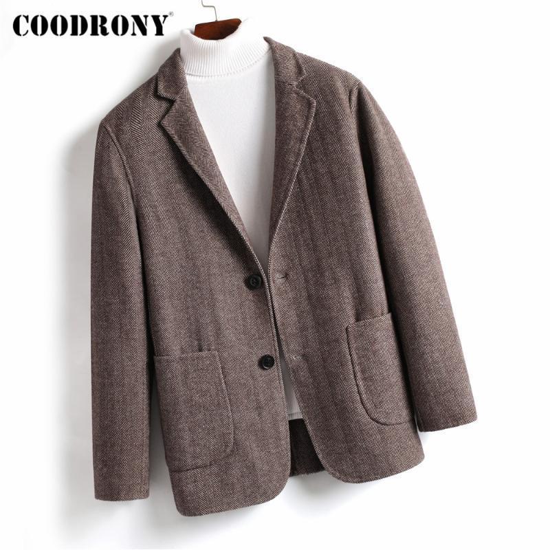 2020 Yeni Geliş Streetwear Moda Kore Style Ceket Kış Kalın Sıcak Yumuşak Palto Erkekler Y8053 COODRONY Marka Erkek Yün Coat