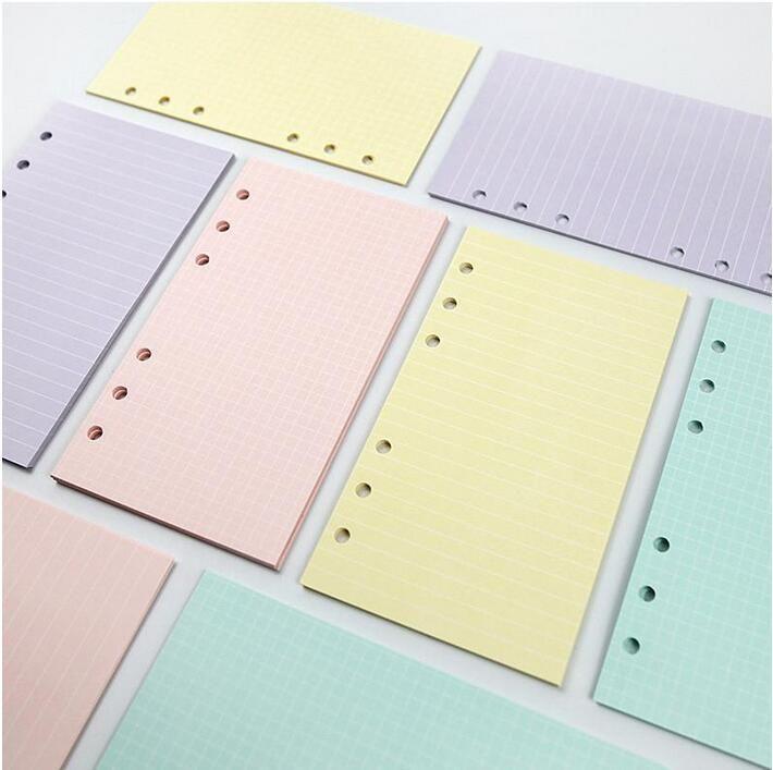5 색 A6 느슨한 잎 단색 컬러 노트북 리필 나선형 바인더 색인 페이지 플래너 Agenda 내부 필러 논문 노트북 액세서리