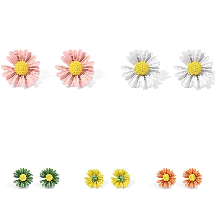 Boucles d'oreilles coréenne douce Tournesols Stud pour les femmes frais de Charme Mignon Petit Boucles d'oreilles fleur de marguerite 2020 oreille Trendy Goujons Kolczyk