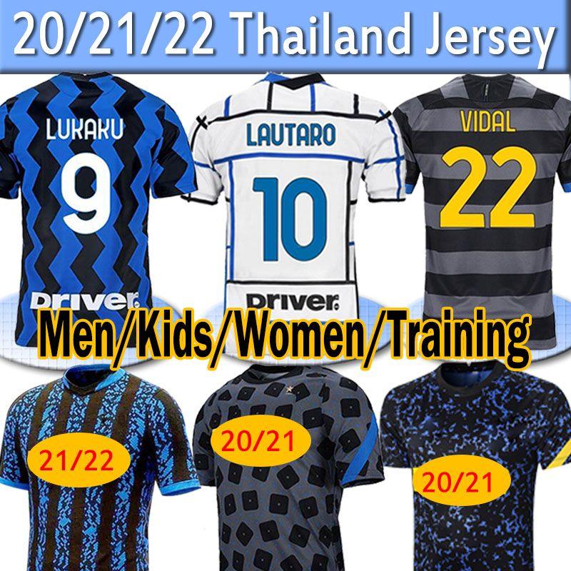 2021 2022 Inter Lukaku Lautaro Alexis Soccer Jersey 20 21 Milano Vidal Barella Uomo Donne Donne Kit Kit Kit per bambini Maniche lunghe Torcarte da calcio