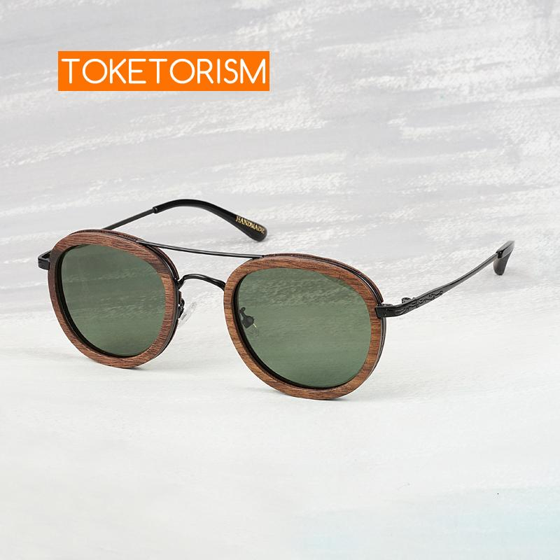 Toketorism retro gafas redondas de madera polarizado para mujeres de la vendimia gafas de sol masculinas 0603