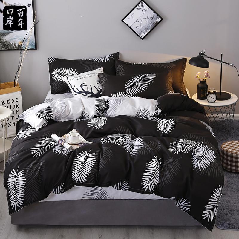 4 teile / satz Bettwäsche Set 19 Stil Haushaltsprodukte Aloe Baumwolle Bett Set Blätter Plaid Modern Bett Blech Kissenbezug Duvet Cover 201114