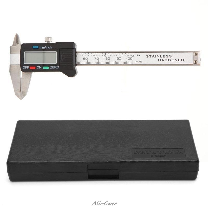100 ملليمتر lcd الالكترونية المقياس الرقمي المقاوم للصدأ الورنية الفرجار ميكرومتر T200602