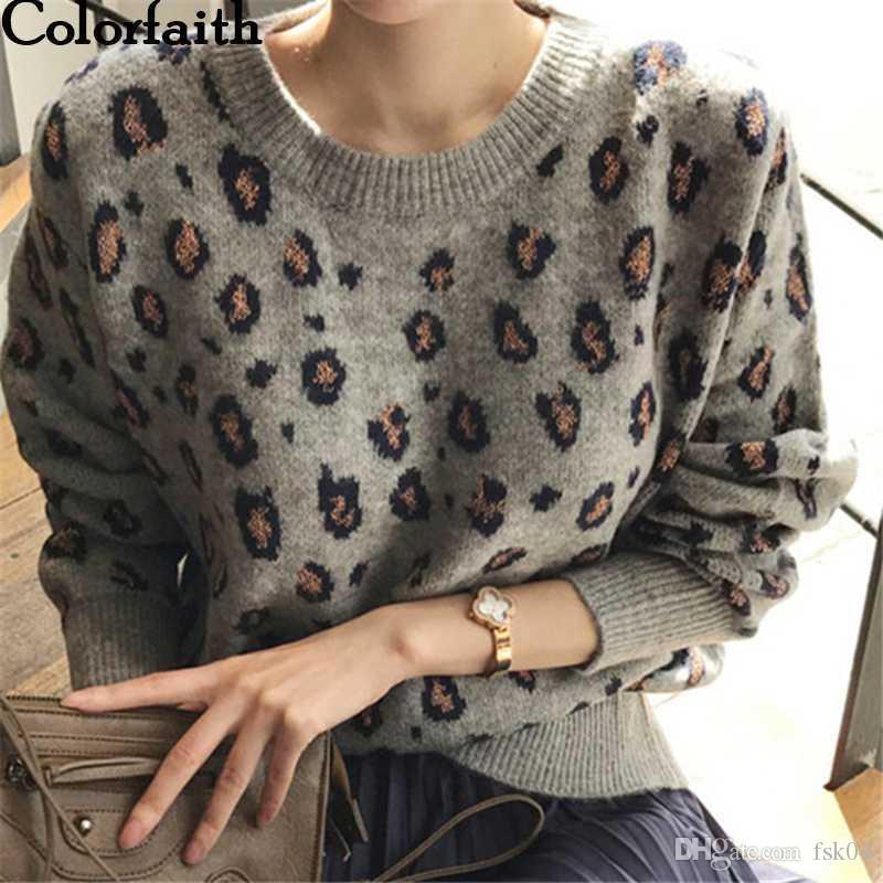 Colorfaith Nuovo 2020 autunno inverno delle donne Maglioni Pullover Tops Leopard stile coreano di lavoro a maglia a maniche lunghe signore femminile SW9539