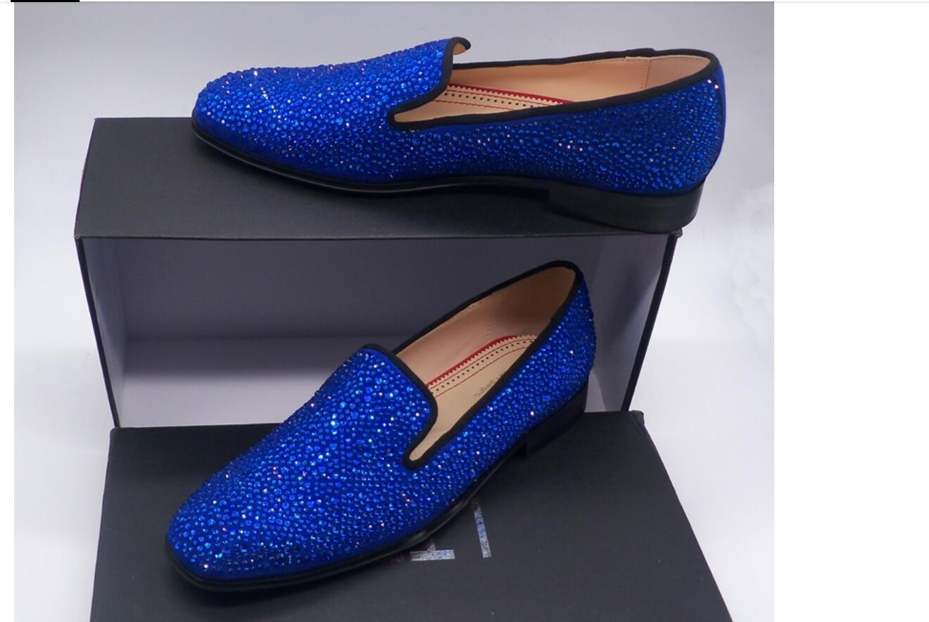 Moda Royal Blue Rhinestone Erkekler loafer'lar Lüks Kayma-on Süet Erkek Giysi Ayakkabı El yapımı Erkekler Wedding Ve Balo Ayakkabı