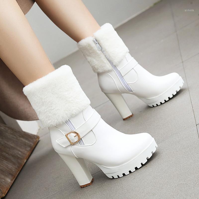 Stivali Ymechic Fashion Inverno Tacchi alti Snow Women Donne Faux Fur Fibbia Plappa Piattaforma Tacco Caviglia Bianco Bianco Nero Pink1