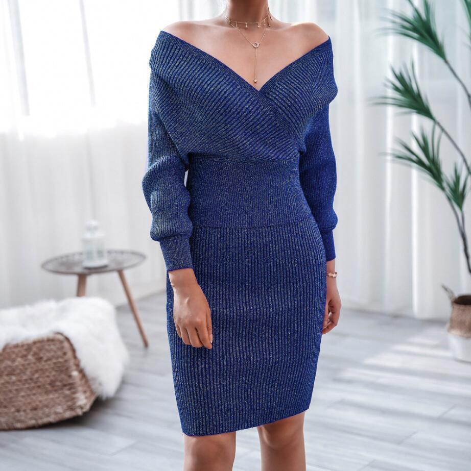 Осенью и зимой два кусок платье моды один шаг юбка с длинными рукавами случайный вязаный свитер юбка из двух частей костюма