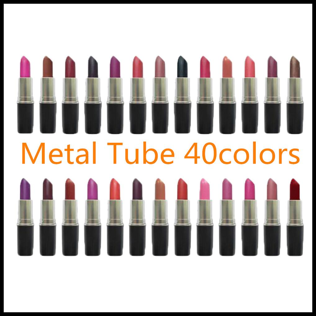 EPACK 2021 Mental Tube Matte lipstick Waterproof Velvet Lipstick Sexy Red Brown Pigments Makeup 3g Lipsticks sweet smell + English Name