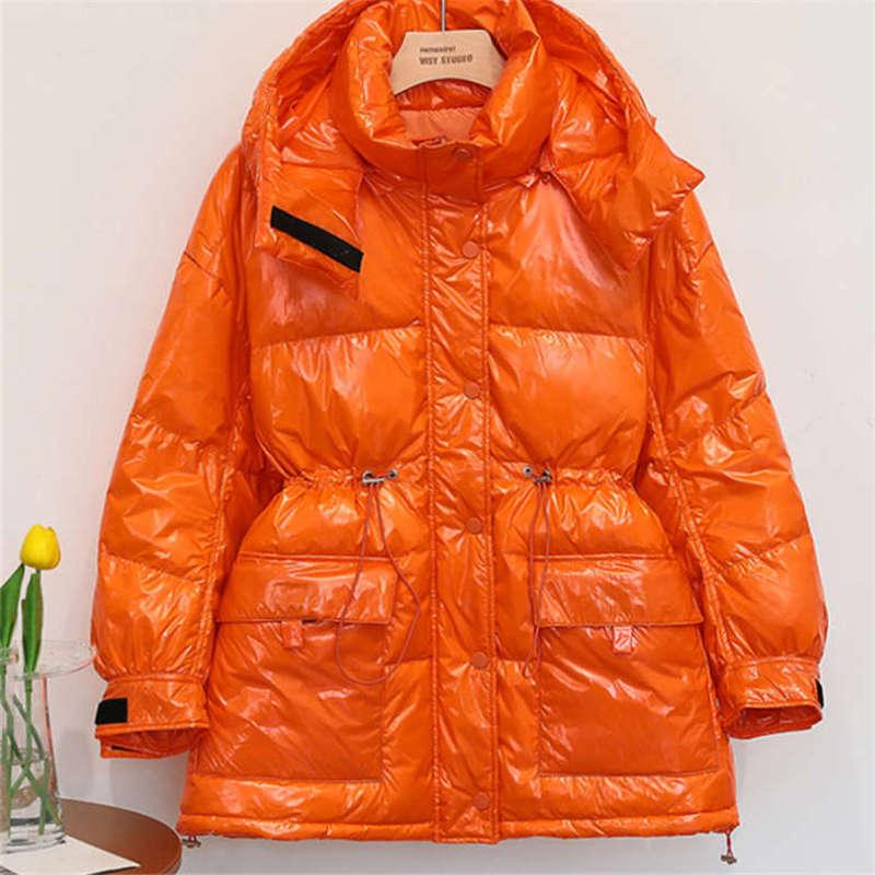 New winter fashion oversize bright candy color down jacket for ladies medium and long waist down jacket cotton coat loose 6 color S-L