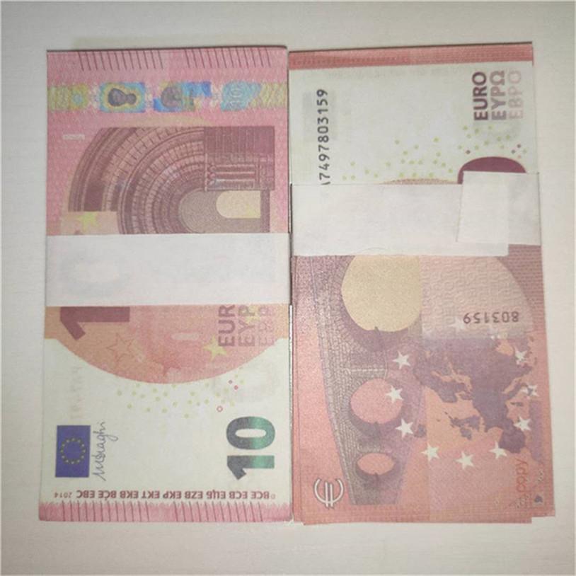 Simulation de 10 EUR Contrefaite Money Jouet Movie Shooting Props Jouets de Children's Atmosphère accessoires Jeux Billets de banque 100 A7