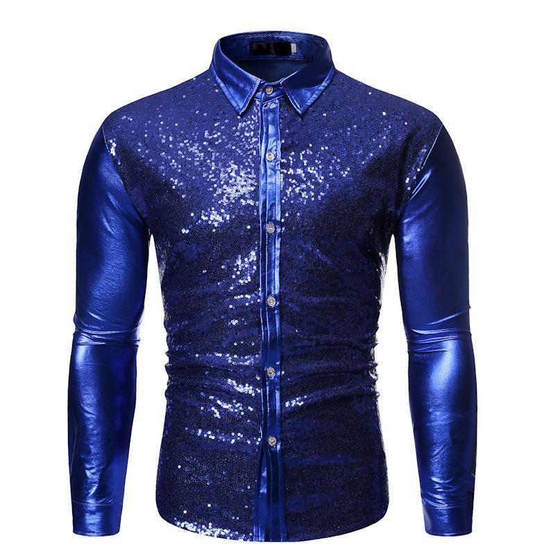 반짝이 골드 패치 워크 장식 조각 셔츠 남자 슬림 피트 긴 소매 망 드레스 셔츠 DJ 클럽 파티 단계 Prom Chemise Homme