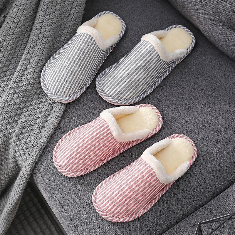 Couple Household Indoor and Outdoor Versatile Simple Striped Plush Cotton Slippers Comfortable Soft Bottom