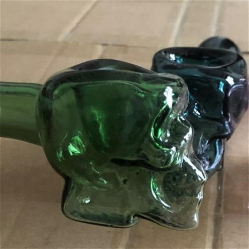 Multi cores tubos de vidro crânio design alto borossilicato óculos colher mão colher tubos de fumar mãos roladas ferramenta de fumo 15RP L2
