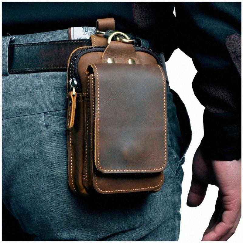 Leather Mens Casual Design Small Waist Bag Cowhide Fashion Mobile Phone Bag Belt Cigarette Case Mobile Phone Pink Fanny Pack Hip Pack doKh#