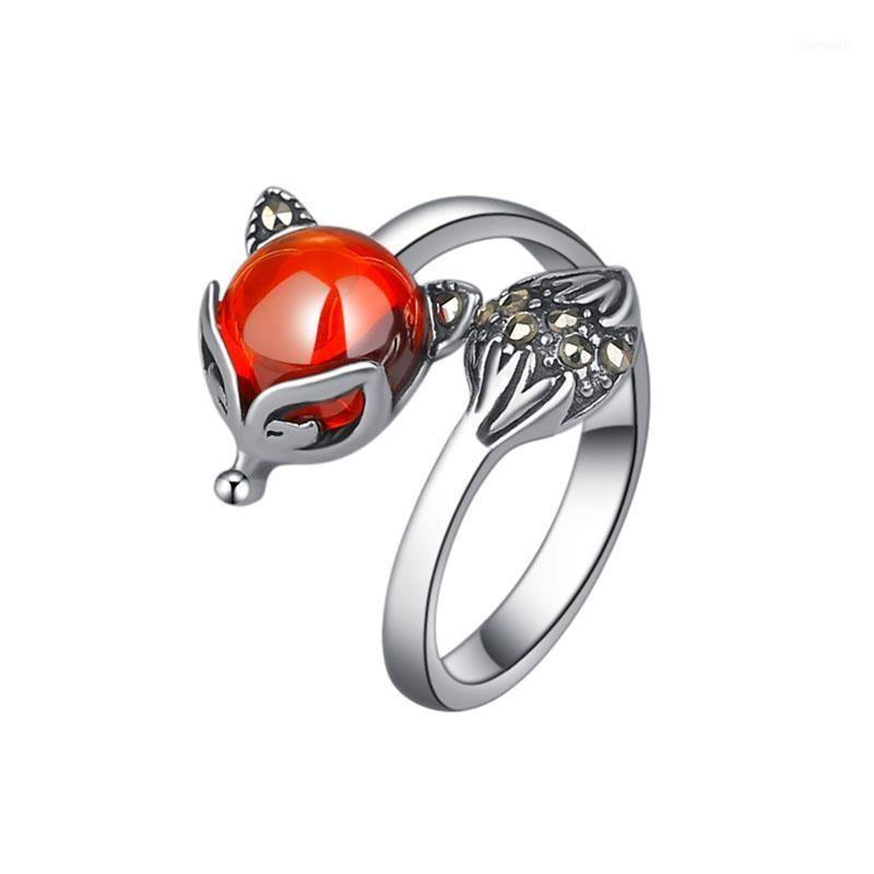 Стерлингового серебра 925 ультрамодные маленькие животные драгоценные камни камень леди кольца палец продвижение ювелирных изделий женщин открыть партия кольцо нет FADE1