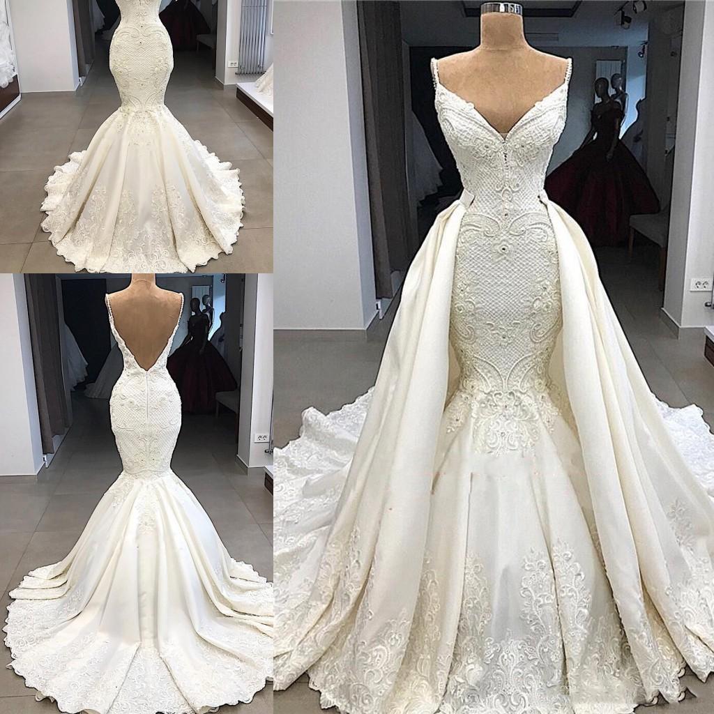 Dubai árabe de lujo magníficos vestidos de boda de la sirena del tren desmontable con apliques de encaje ilusión de cintura alta vestido de novia de la boda