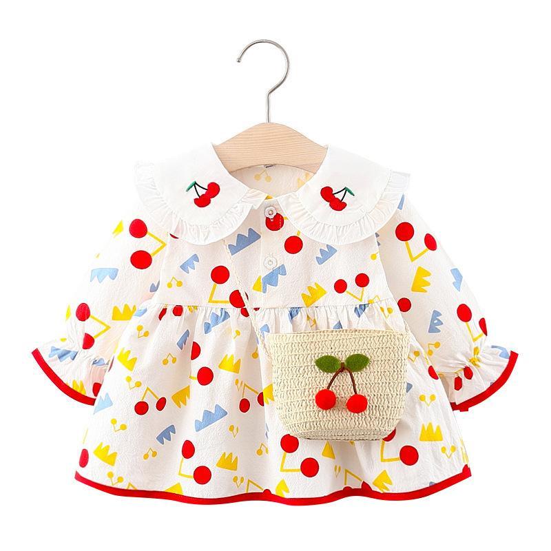 Niñas Dulces Vestidos 2020 Nuevo otoño moda niños niña cherry patrón vestido niño pequeño bebé recién nacido niños ropa vestido 1023