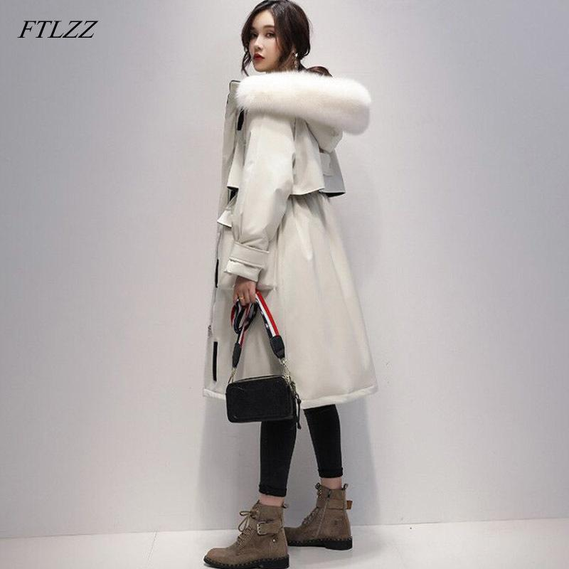 Ftlzz grande real raposa pele 90% branco pato para baixo casaco longo jaqueta de inverno mulheres parkas espessas quente waterproof overcoat 210204