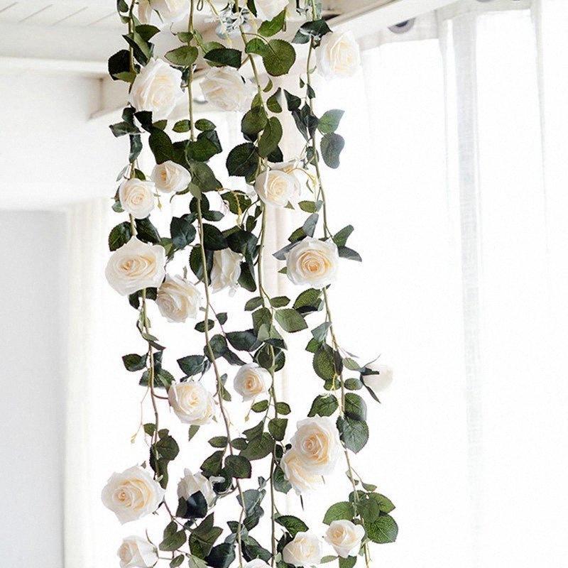 180 centimetri artificiale fiore della Rosa di cerimonia nuziale della vite decorativo vero tocco di seta fiori con foglie verdi per casa Hanging Garland Decor wh J5Jl #