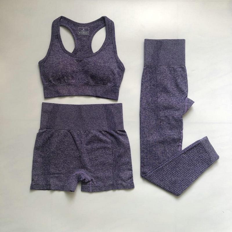 3шт бесшовные женские тренировки носить фитнес шорты бюстгальтер высокой талии леггинсы спортивная одежда йога установить женщин
